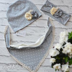 Cienki komplet dla dziewczynki czapka i komin/trójkąt, czapka, komin, szalik, szal