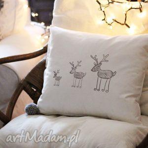 poszewka na poduszkę, poszewka, poduszka, świąteczna, zamek, bawełniana, renifer