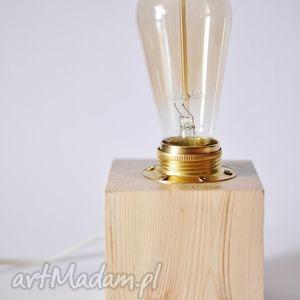 drewniana lampka rustic edison 10x10, lampa, lmpka, vintage, edison, rystykalny