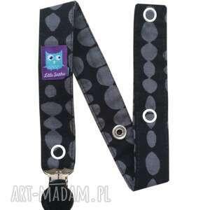 zawieszka do smoczka, wzór beads, czarny klips - zawieszka, tasiemka, kropki, klips