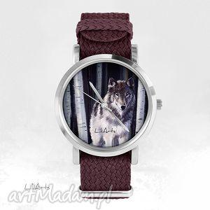zegarki zegarek, bransoletka - szary wilk bordowy, nato, pleciony