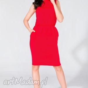 sukienka midi z kieszeniami t132 czerwony - sukienka, midi, letnia, kieszenie