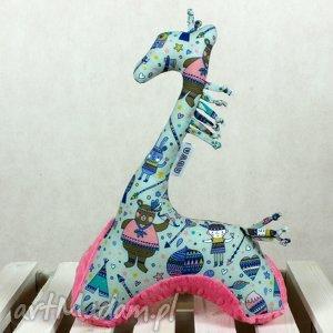 Żyrafa - Przytulanka sensoryczna szary róż Indianie, żyrafa, przytulanka, maskotka