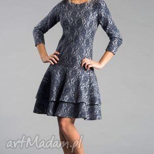 Sukienka LADY Midi Tamara, midi, koronka, szara, galbanka, granat, milutka