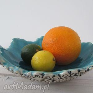 ceramika ślimakowa z turkusem, ceramiczna, miska, turkusowa dom, oryginalny prezent