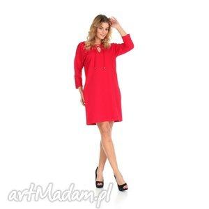 46-sukienka sznurowany dekolt,czerwona,rękaw 3 4, lalu, sukienka, dzianina, bawełna
