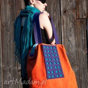 torba hobo xxl - pomarańcz, fiolet, szmaragd - hobo, xxl, color, block, alcantara