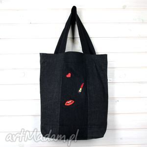 na ramię torba z naszywkami, naszywki, aplikacje, dżinsowa, torba, pojemna, prezent