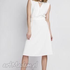 sukienki sukienka, suk125 ecru, kopertowa, biała, wesele, zmysłowa, kobieca