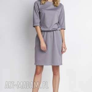 unikalny prezent, sukienka, suk129 szary, casual, wygoda, gumka, luźna ubrania
