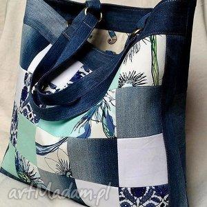 na ramię duża torba z recyklingu jeansu, torba, jeans, dżins, denim, patchwork