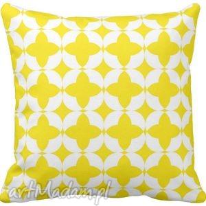 Poduszka ozdobna dekoracyjna żółto-białe figury geometryczne 6581 - żółta