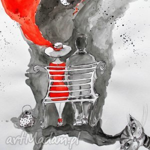 Grafika akwarelą i piórkiem Wspólna przyszłość artystki Adriany Laube, ławka, koty