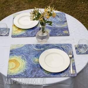 zestaw 4 podkładek na stół - vincent van gogh gwiaździsta noc, gogh, noc
