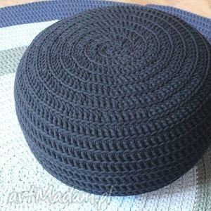pufa hop black, pufa, krzesło, fotel, handmade, bawełna, sznurek, wyjątkowe prezenty