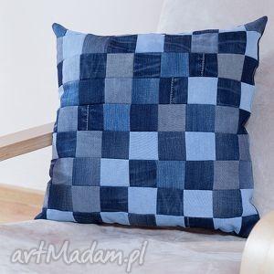 poduszka blu jeans patchwork, poduszka, ekopoduszka, jeans, recykling, patchwork