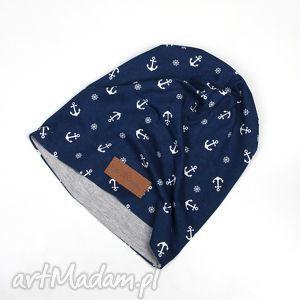 czapka marynarska w kotwice unisex, czapka, beanie, marynarska, kotwice, ciepła