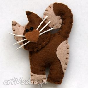 kotek - broszka z filcu - filc, broszka, dziecko, kot, święta, biżuteria