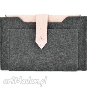 etui na tablet 7- grafitowe z różową skórą strusia, filc, skóra, etui