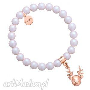 perłowa bransoletka z pereł swarovski crystal reniferkiem w różowym złocie, perły