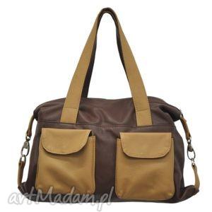 torebki 09-0014 brązowa torba sportowa torebka fitness tit, modne, markowe