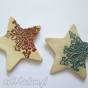 prezent na święta, magnesy gwiazdki 2 szt, ceramiczne, świąteczne, ozdoby, prezent