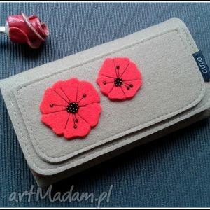 Prezent Bezowy portfel z makami, portfel, maki, filc, catoo, prezent, filcowy