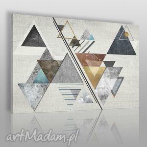 obraz na płótnie - abstrakcja trójkąty 120x80 cm 28201 , trójkąty, skandynawski