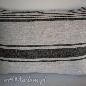 poduszki poduszka z pieknego lnu w czarne paski, len, paski dom