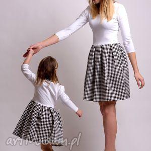 sukienki komplet sukienek w pepitke dla mamy i córki , pepitka, dresówka, dzianina