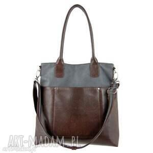 fiella - duża torba szarość i brąz, shopper, praktyczna, wygodna, miejska, prezent