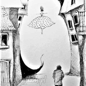 Grafika wykonana piórkiem Kobieta artystki plastyka Adriany Laube, kobieta, uliczka