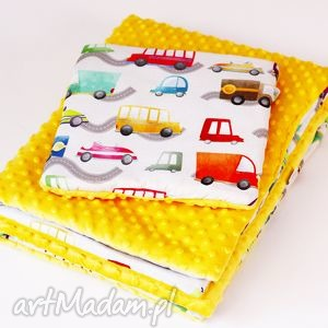 pokoik dziecka zestaw niemowlaka autka żółty, zeskaw, kocyk, poduszka, dla