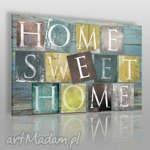 obraz na płótnie - home sweet 120x80 cm 34001 , home, napis, litery, drewno