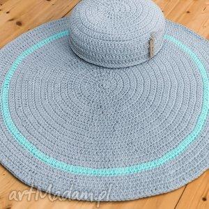 zestaw dywan 110 cm i pufa 45x10 cm, dywan, pufa, puf, dywanik, sznurek, bawełniany
