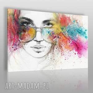 obrazy obraz na płótnie - kobieta okulary 120x80 cm 39301 , okulary, piercing