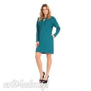 46-sukienka sznurowany dekolt,szmaragd,rękaw długi, lalu, sukienka, dzianina, bawełna