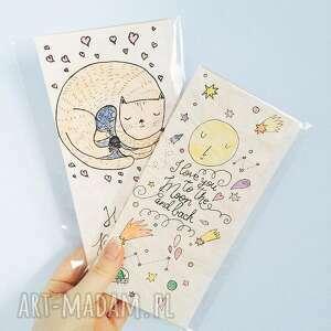zestaw kartek eko, okolicznościowe, moon, cat, kot, urodzinowa