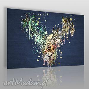 obraz na płótnie - jeleń boho kolorowy 120x80 cm 49601 , jeleń, boho, łapaczsnów