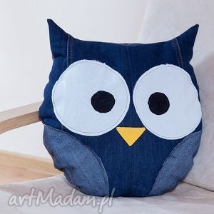 oryginalne prezenty, poduszki poduszka jeans - sowa, poduszka, jeans, recykling