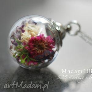 925 srebrny łańcuszek - bukiet kwiatów, kwiaty, natura, medalion, mech, koper