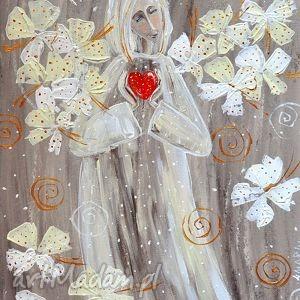 święta prezenty Anioł z serduszkiem, sztuka, anioł, serce, święta, obraz, miłość