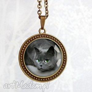 filuterny kot - naszyjnik - długi, wisior, kot, kotem, szary, grafitowy