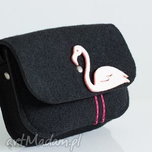 na ramię torebka dla małej damy, czarny filc różowy flaming, torebka, dziewczynka