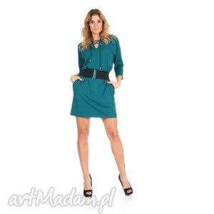 46-sukienka sznurowany dekolt,szmaragd,rękaw 3/4,pasek, lalu, sukienka, dzianina