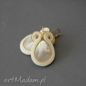 sisu kolczyki z masą perłową, soutache, perła, kremowe, złote, eleganckie, wieczorowe