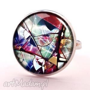 witraż - pierścionek regulowany, pierścionek, witraż, szklany, prezent