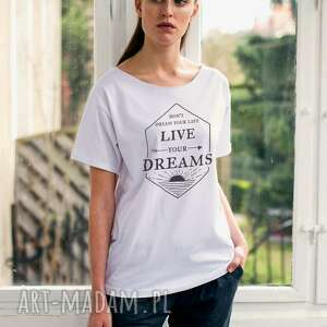 live your dreams oversize t-shirt, ubrania