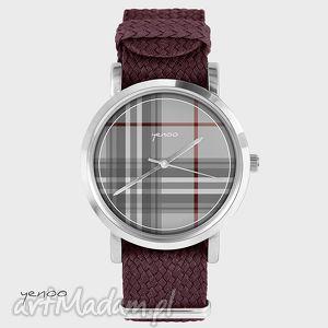 zegarki zegarek, bransoletka - szkocka krata bordowy, bransoletka, nato