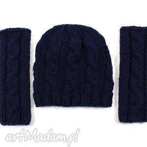 komplet czapka i mitenki w warkocze - mitenki, czapka, komplet, warkocz, dzierganie